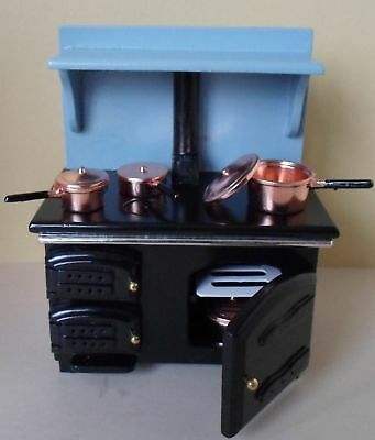 Dolls house Miniature  BLUE Cooker/Stove with copper pans 1:12 Streets Ahead New