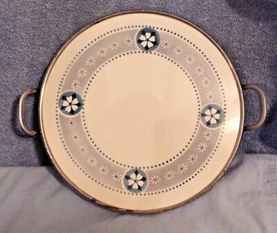 """Vintage Round Butlers Tray 11"""" Blue White Ceramic Silver Metal Handles & Feet"""