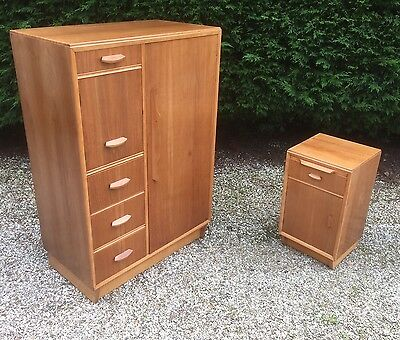 Fine Art Deco Walnut Small Wardrobe And Matching Cabinet Delivery Available