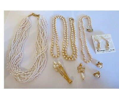 Elegant Vintage Lot of 7 Pcs. Classic All Designer Signed Pearl Jewelry