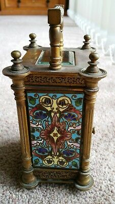 Stunning Condition R&Co Paris Brass 19th Century Enamelled Carriage Clock + Key