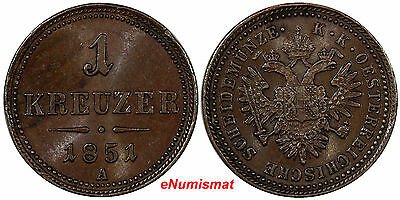 Austria Franz Joseph I Copper 1851 A 1 Kreuzer aUnc Condition  KM# 2185