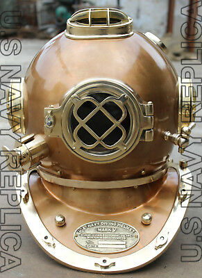 "U.s Navy Mark V Solid Steel & Brass Heavy Diving Divers Helmet 18"" Vintage"