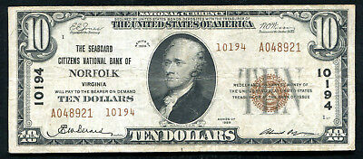 1929 $10 Tyii Seaboard Citizens Nb Of Norfolk, Va National Currency Ch #10194