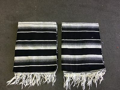TWO PIECE SERAPE SET ,5' X 7',Mexican Blanket,HOT ROD, Covers, XXL , BLACK MIX