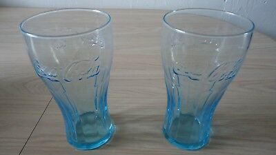 Two Coca Cola Embossed Blue Teal Tint 16 Oz Drinking 1 Glass Tumblers