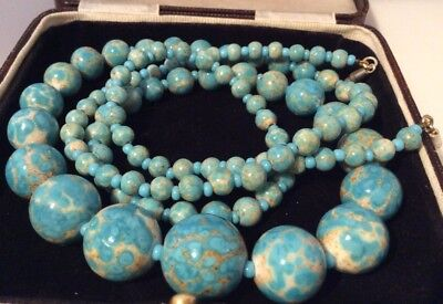Vintage Art Deco lovely long Turquoise matrix chunky graduated bead necklace