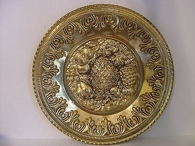 """Vintage Hammered Brass Pineapple And Assorted Fruits Plate Made In England 12"""""""