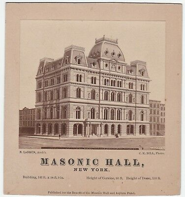 RARE Orig Albumen Photo - Masonic Hall New York NY 1870s by CK Bill Architecture