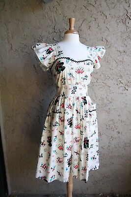 Bernie Dexter 1950s 1960s rockabilly kitsch novelty atmoic retro vintage dress M