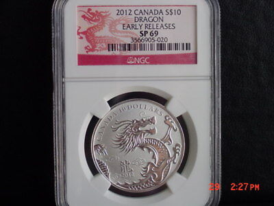 2012 Canada 1/2 Oz Silver Year Of The Dragon $10 Ngc Sp69 Er
