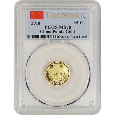 2018 China Gold Panda 3 g 50 Yuan - PCGS MS70 - First Strike