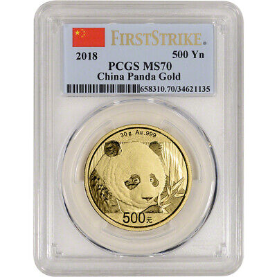 2018 China Gold Panda 30 g 500 Yuan - PCGS MS70 - First Strike
