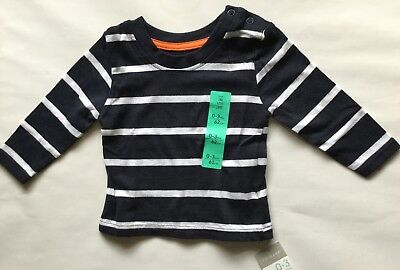 Baby Girls Navy and White Stripe Long Sleeve T Shirt