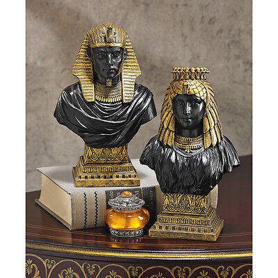 Set of 2: 18th Dynasty Egyptian Revival Collectible King & Queen Gallery Busts