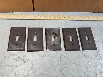 Vintage Art Deco Design Brown Bakelite  Light Switch Plate Cover LOT OF 5