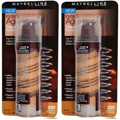 2 X Maybelline 30Ml Instant Age Rewind Foundation The Lifter 220 Sandy Beige New