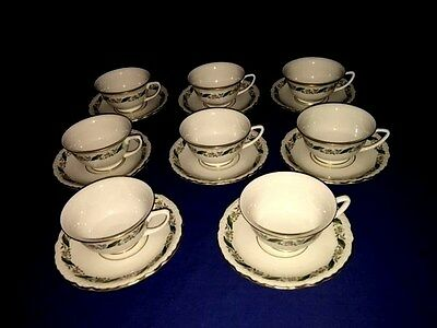 ROYAL JACKSON china MAGNOLIA ~ Footed Cups & Saucers (8 Sets) ~ Excellent