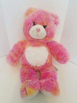 "Build A Bear Workshop BABW 16"" Pink and Orange Plush Bear with Heart Nose"