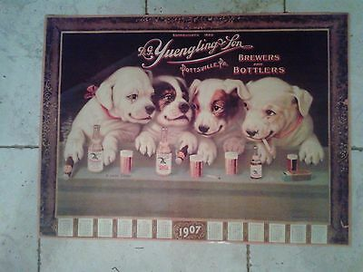 Yuengling Lager Beer Puppy Dogs At Bar Poster