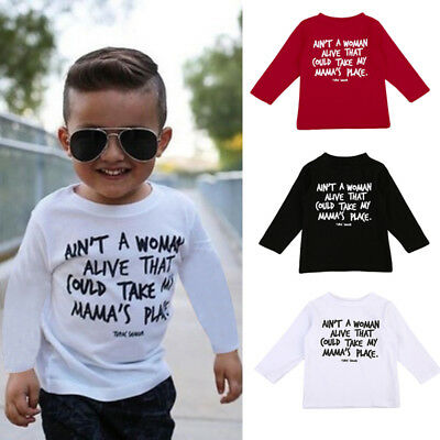 US Stock Boy T-shirt Kids Toddler Baby Basic T-shirt Casual Long Sleeve Tops Tee