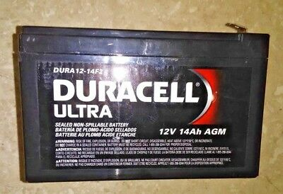 Duracell Ultra 12V 14AH Deep Cycle AGM SLA Battery with F2 Terminals DURDC12-14F