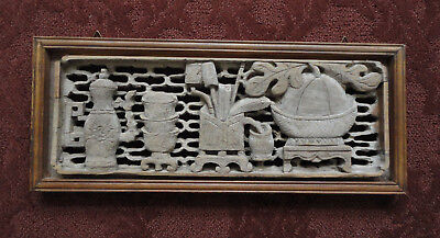Antique Hand-Carved Dimensional Chinese Wood Window - Scholar Theme