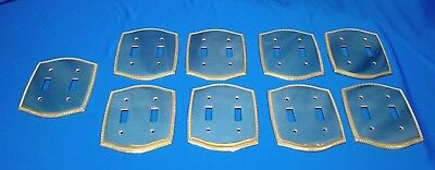 9 Pc Lot Polished Brass Double Toggle Light Switch Plates Nautical Rope Design