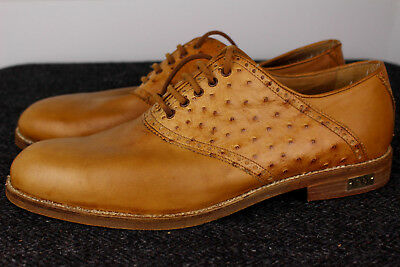 Vintage Fore Ltd. Saddle Tan Full Quill Ostrich Spikeless Golf Shoes 9.5 D Italy
