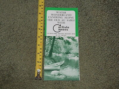 Brochure Old Vintage Carlisle Canoes Grayling Michigan Water Wonderland