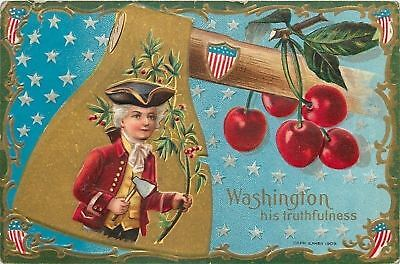 Patriotic~Nash Gold Hatchet~Washington: His Truthfulnessl~Cherries~Art Nouveau