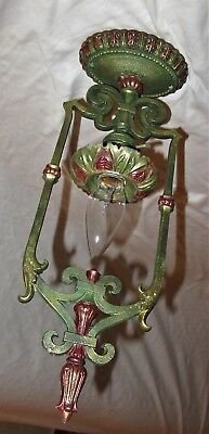 VINTAGE DECO CHANDELIER CAST METAL FLUSH MOUNT CEILING LIGHT FIXTURE 1920's