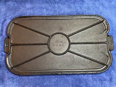 Vintage Wagner 17 B Cast Iron Two Handled Griddle Flat Web Back Cleaned