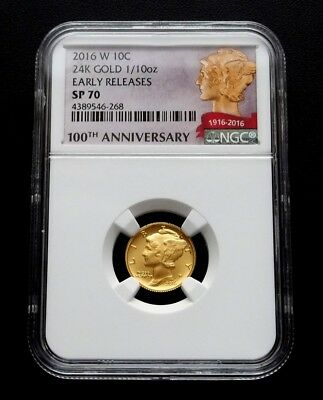 "2016-w Gold Mercury Dime 1/10oz Gold Centennial Coin - ""NGC SP70 EARLY RELEASES"""