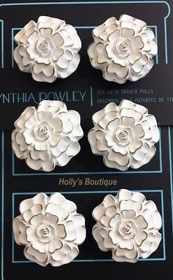 CYNTHIA ROWLEY Antique Drawer Pulls SET OF 6 Cabinet Knobs WHITE FLOWER FLORAL