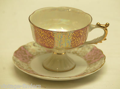 Old Vintage Lusterware Footed Cup & Saucer w Gold Trim C-7215 by Napco (?)