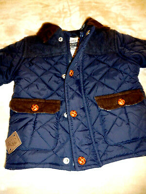 Next Boys Navy Quilted Winter Coat Lined Leather Buttons Zip AGE 18-24months