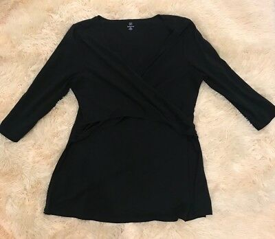 Women's GAP Maternity Black Nursing Top Breastfeeding Wrap XXL EUC Stretch