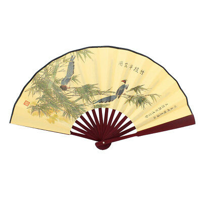 Man Bamboo wood frame with bird motif-Foldable fabric fan, color: Light Yel T0V1
