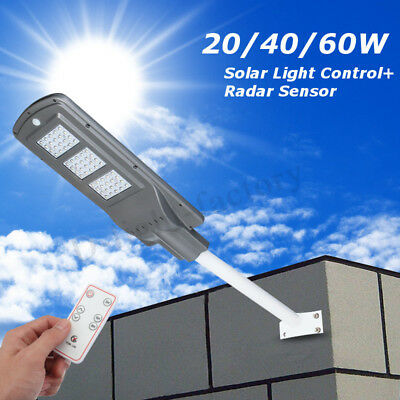 20/40/60W Waterproof Solar Street Light LED Radar Sensor Lamp With Controller