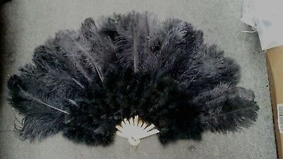 21 x 35 inches Large Burlesque Dance feather fan Bridal Bouquet,ostrich ,black