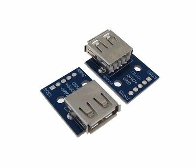 USB 2.0 Type A Female Breakout Board 2.54mm Header - Pack of 2