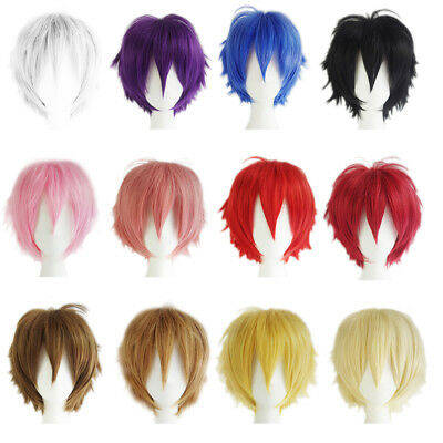 Multi Color Men Boy Women Short Wigs Straight Hair Anime Party Costume Cosplay