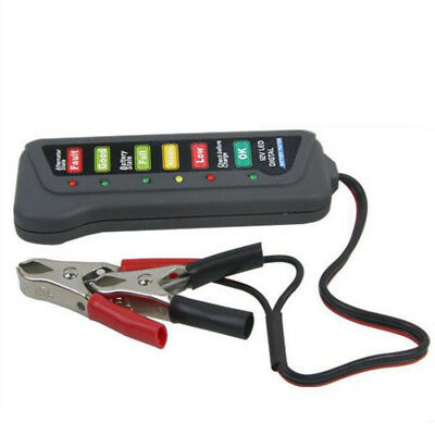 12V Digital Battery Alternator Tester with 6 LED Lights Display Car Auto