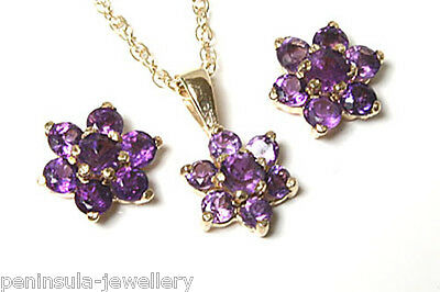 9ct Gold Amethyst Cluster Pendant and Earring Set Made in UK Gift Boxed