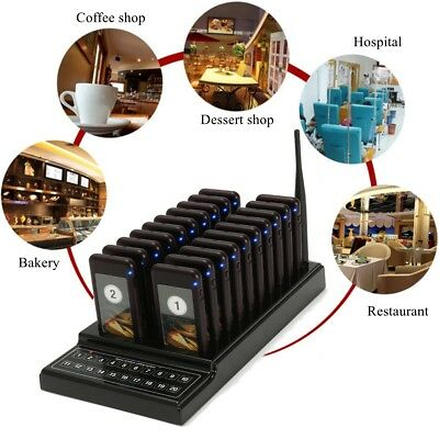 20 Coaster Restaurant Wireless Pager Guest Call Paging Queuing Calling System