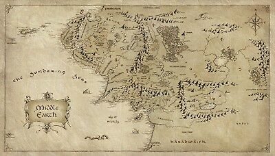 Middle Earth Map Poster (02) - 4 Sizes You Choose - Hobbit/lord Of The Rings