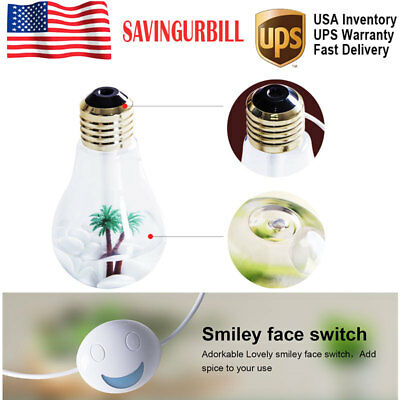 Bulb Humidifier LED Air Diffuser Purifier Atomizer Color Changing Creative Gift