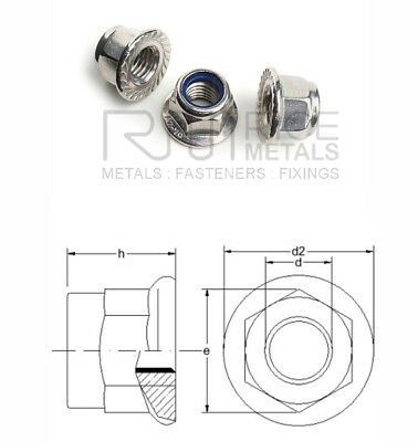 Nylon Insert Serrated Flange Nuts Stainless Steel Din 6926 Sizes M4 - M12