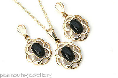 9ct Gold Black Onyx Celtic Pendant and Earring Set Made in UK Gift Boxed